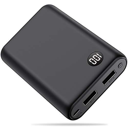Yacikos Power Bank 13800mAh Caricabatterie Portatile,Ultra-Compact Mini Batteria Esterna Carica Veloce Batteria Portatile con 2 USB Porte e Display LCD per Cellulare,Tablet - Nero