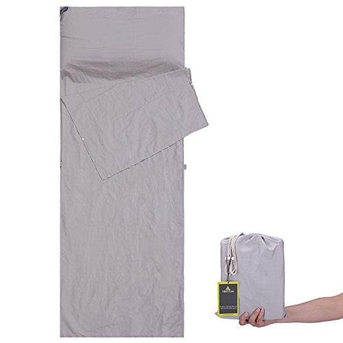 LUSHANG Hüttenschlafsack aus Baumwolle, Reiseschlafsack Kleines Packmaß, Schlafsack Inlett, Sommerschlafsack - Dünn & Kompakt - für Camping, Outdoor, Hotel, Hostel (Grau)