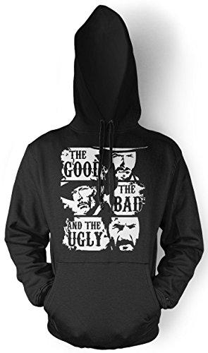 The Good The Bad and The Ugly Männer und Herren Kapuzenpullover | Clint Eastwood Western Kostüm Kult (XL, Schwarz)