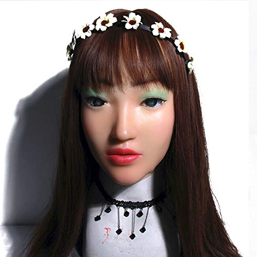 Crossdresser Relastic Silikon Maske Emily Doll Für Masquerade Drag Queens Shemale Cosplay Mundöffnende Transgender Weibliche Haut (Ziemlich Kostüm Doll)