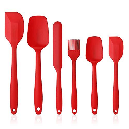 Vicloon Utensilios de Cocina de Silicona,Set de 6 Espátulas Silicona Incluye Hilvanado Cepillo, Espátula,Cuchara, No Tóxico, Antiadherente,Resistente al Calor,Utensilios para Cocina y Horneado (Rojo)