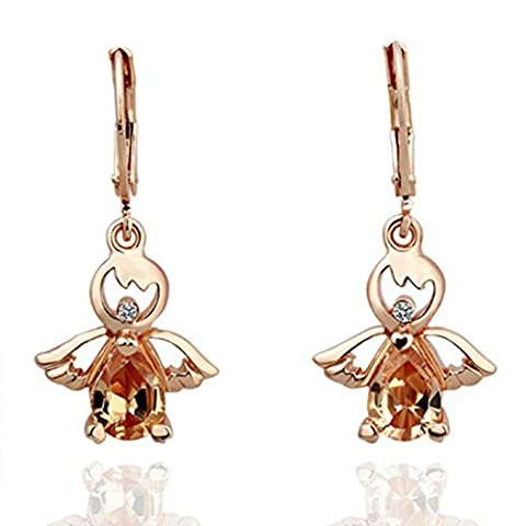 18 Carat Rose Gold Plated Swarovski Elements Crystal Angel Dangle Drop Earrings