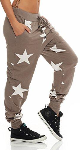 malito stella Boyfriend Harem Pantaloni Sweatpants HaremAladin Sbuffo Pantaloni Pump Baggy Yoga 8025 Donna Taglia Unica Fango
