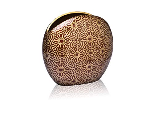 Jasper - Designer Flower vase with Geometric Pattern for Home Decor in Living Room, Bedroom, Office, Dining, Console and Center Table, Unique & Special Gift idea for Many Occasions (Champagne-9 inch)