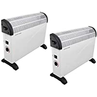 Elitezotec THERMOSTAT CONVECTOR HEATER HEATING FAN ADJUSTABLE THERMOSTAT 2000W 2KW (2 Units)