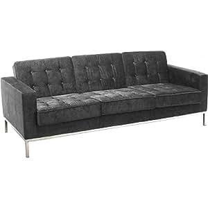 Canapé 3 places Florence Knoll Style - Tissu Gris foncé