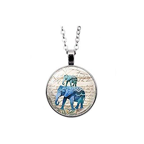 Colgante de elefantes azules. Collar de elefante azul, elefante azul, regalo de...