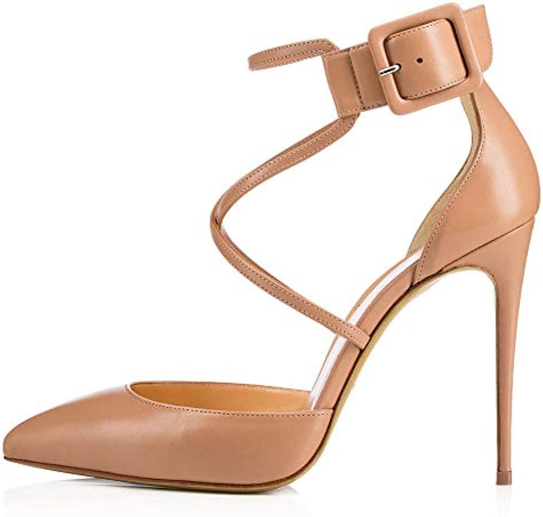 Donna Tacco Alto Fibbia Cinturini Incrociati Scarpe Tacco A Spillo Alto,MWOOOK-252 Festa High Heel Scarpe,Beige,34 | Portare-resistendo  | Maschio/Ragazze Scarpa