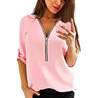 Yvelands Mujer Tops Casual Camisa de Mujer con Cuello En V Cremallera Suelta Camiseta Blusa Camiseta Top