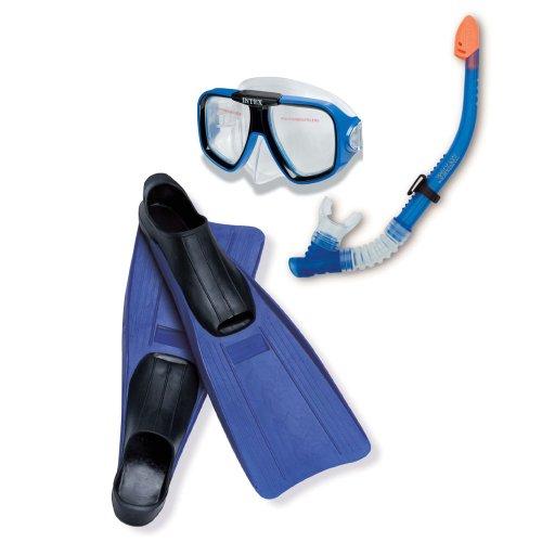 INTEX Tauch-Set blau-schwarz, Schnorchel, Taucherbrille, Schwimmflossen Gr. 38-40 // Tauchset Tauchermaske Tauchmaske Schnorcheln Schwimm-Set Flossen