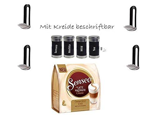Senseo Kaffeepads   Latte Macchiato Classic   90 g / 3,17 Unzen 10 Kapseln + 4 beschriftbaren Dosen...