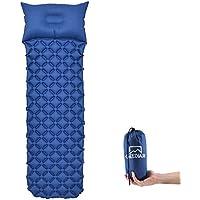 Materassino da Campeggio Gonfiabile,190x56x6cm (0.5kg) con Cuscino Gonfiabile Materasso, GEEDIAR Materassino da Campeggio Leggero per Campeggio, Escursionismo, Viaggio, Spiaggia (Blu Navy)