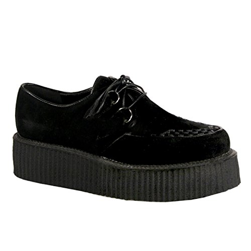 Demonia V-Creeper-502s - scarpe gotiche punk Industrial Creeper cuoio 36-48, US-Herren:EU-39 (US-M7)