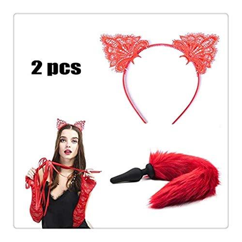 WM-EILIAN 2 STÜCKE Cosplay Fuchsschwanz Und Spitze Stirnband Kopfschmuck (Rot) Prom Party Kostüm Set