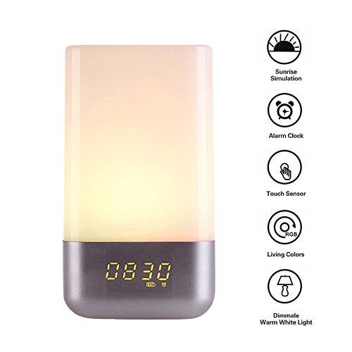 Kainuoa® Lichtwecker mit Sonnenaufgang Wake Up Light Dimmbares Farblicht Aufweckleuchte Touch Stimmungslampe Dekolicht, weiß