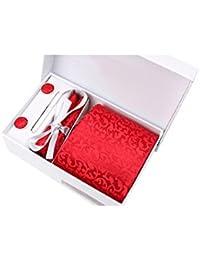 Coffret Cadeau Manchester - Cravate rouge à motif floral ton sur ton, boutons de manchette, pince à cravate, pochette de costume
