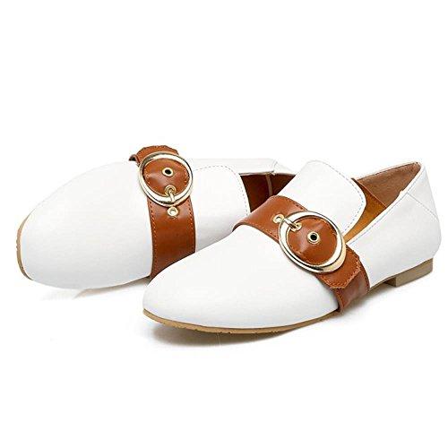 COOLCEPT Damen Mode-Event Stripes Buckle Belt Pumps Brogues Shoes White