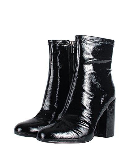 Steve Madden goldeeee Black Patent Boots–Boots Noirs cuir verni Noir
