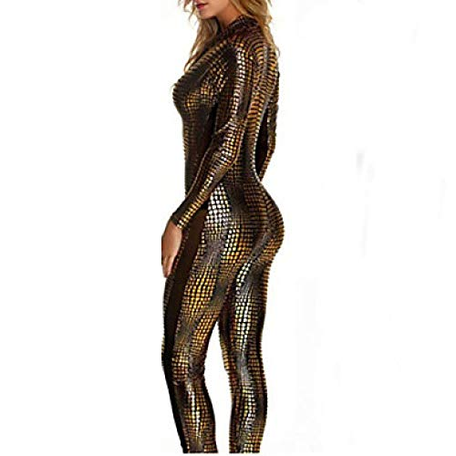Super Kostüm Frauen - SINYUEE Frauen Super Heroes Spider Movie/TV Theme Kostüme Sexy Uniformen Sex Zentai Suits Cosplay Kostüm Catsuit Solid Colored Leotard/Onesie Catsuit, Golden,M