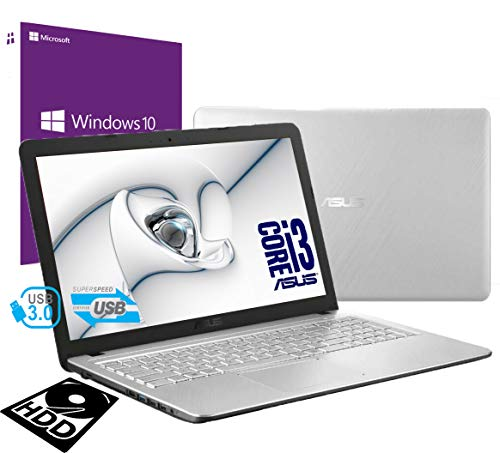 Asus-cpu-pc-laptops (Asus Vivobook Silver Tragbar Pc Display 39,6 cm (15,6 Zoll) Intel i3 7th Gen 2,3ghz / Ram 8Gb DDR4 /HD 500GB /HD Graphics 620 /Hdmi DVD Rw WiFi Bluetooth /Windows 10 pro /Open Office /Antivirus)