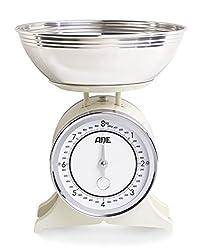 ADE Mechanische Küchenwaage KM 1500 Anna (nostalgische Schüsselwaage im Landhausstil aus Metall, Schale aus Edelstahl, präzise bis 8 kg) creme