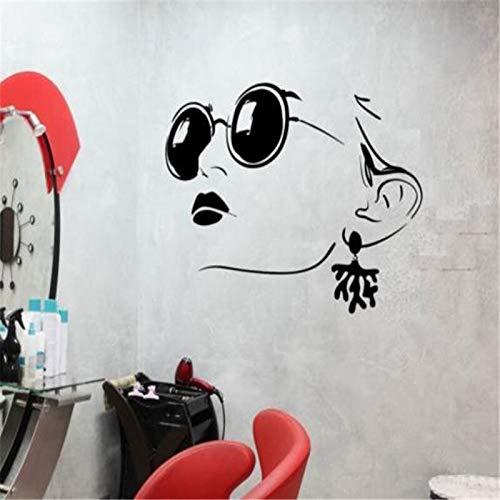 zzlfn3lv Wandtattoo Mädchen Gesicht Brille Schäkel Beauty Salon Lippen Vinyl Aufkleber 55 * 88 cm