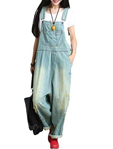 MatchLife Damen Jeans Latzhose Hosen Jumpsuits Style1 Hell Blau