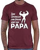 HARIZ  Herren T-Shirt Einen Superhelden Ohne Umhang Nennt Man Papa 2 Kinder Geschenk Vatertag Geschenkideen Plus Geschenkkarten Wein Rot XXL