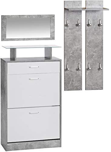 ts-ideen 3er Set Garderobe Spiegel Schuhkipper in Betonoptik Grau Weiß Schuhschrank mit Schublade und Glas
