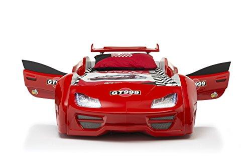 Das Beste Autobett Kinderbett GT 999 in rot mit Türen LED komplett Lattenrost Sound Fernbedienung von Möbel-Zeit
