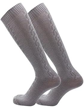 Clearlove Herren Trachtensocken Trachtenstrümpfe Socken Kniestrümpfe Khaki、Grau,Gr. S-XL