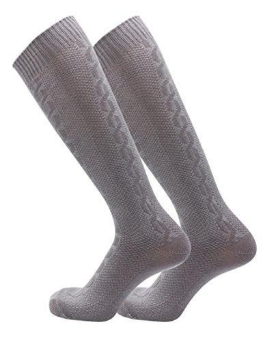 KOJOOIN Trachtensocken herren Trachtenstrümpfe Socken Kniestrümpfe mit Zopfmuster| Herren Damen| Baumwolle| Oktoberfest Socken für Lederhose Grau L/XL