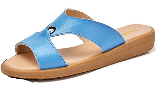 Damen Sommer Kühle Slip On Metallkreis Einfache Bonbonfarbe Süße Günstige Lässige Sandalen Slippers Zehentrenner Blau