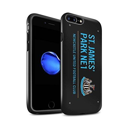 Officiel Newcastle United FC Coque / Brillant Robuste Antichoc Etui pour Apple iPhone 7 Plus / Noir/Bleu Design / St James Park Signe Collection Noir/Bleu
