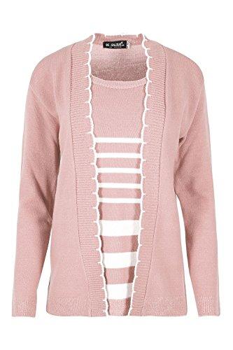 femmes tricoté vêtements en tricot complet manches Bout Ouvert Pull bouffant Double RAYURES HIVER CHAUD fête cardigan haut Rose clair