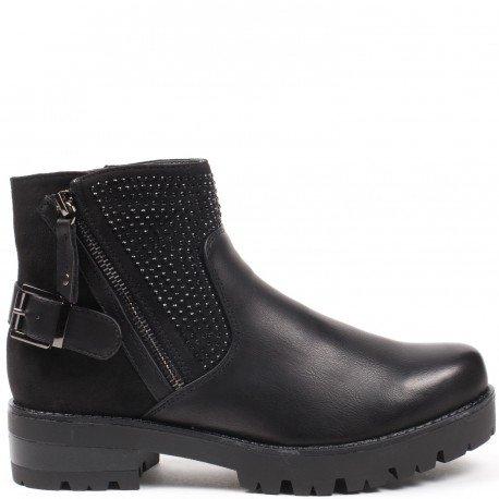 Ideal Shoes - Bottines bi-matière avec partie incrustée de strass Prunelle Noir