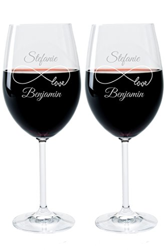 2 Leonardo Weingläser mit Gravur des Namens und Motiv Endless Wein-Glas graviert Hochzeit Geschenkidee