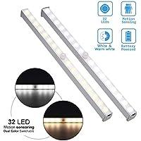 Schrank Kleiderschrank Treppe Bewegungsmelder LED Nachtlichter 24 LED Schrankbeleuchtung USB Nachladbares Schranklicht beweglicher PIR Bewegungs Sensor Licht Stab mit magnetischem Streifen