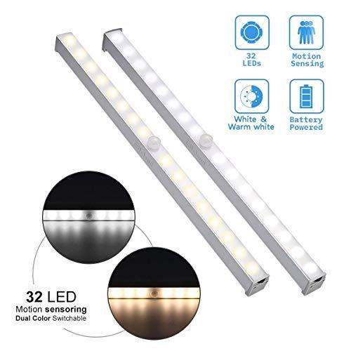 LED Nachtlicht mit Bewegungsmelder, Elfeland 32 LEDs Dimmbar Sensor Schrankleuchte mit Magnetstreifen, Neue Version Batteriebetriebene LED-Lichtleiste mit 2 Farbwechsel (weiß/warmweiß) für Schränke, Kleiderschrank, Küche, Schlafzimmer, Treppe, Gang, Schubfach- 2 Pack