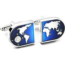 Jstyle Mapa del Mundo de la Joyería de los Hombres Gemelos en Camisas, Boda, Color Azul y Plateado, Juego de 1 par