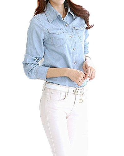 LaoZan - Femme - Modern Sawtooth - Chemise Casual - Coupe Droite - Manches Longues Bleu clair