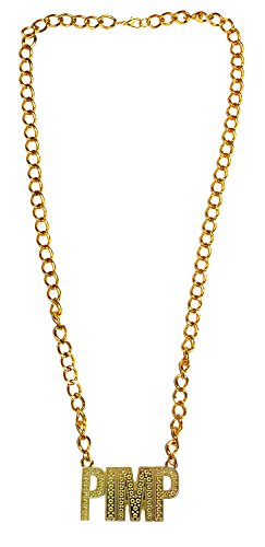 Goldene Disco Halskette PIMP