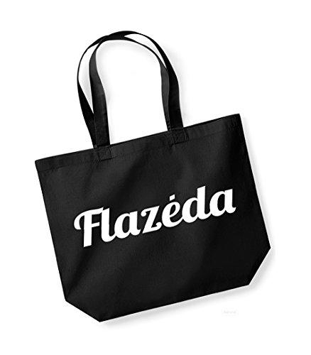 Flazeda- Large Canvas Fun Slogan Tote Bag Black/White