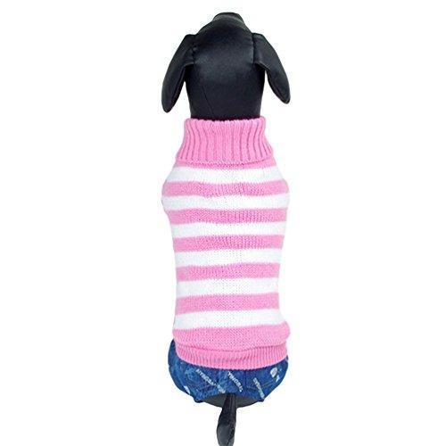 Yuncai Niedlich Streifen Haustier Hund Katze Strickpullover Warm Pullover Bekleidung Pink M