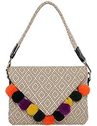 Kleine Umhängetasche mit Umschlag in Ethno Style Damen Henkeltasche Clutch mit Bunt Bommeln Mini Tasche Handtasche Schultertasche mit Geometrisch Muster