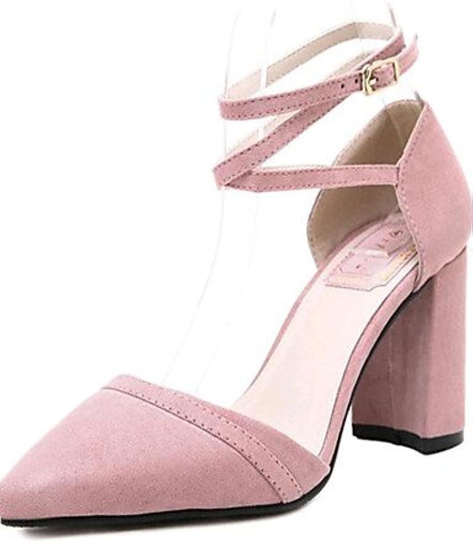 ZQ Zapatos de mujer-Tac¨®n Robusto-Tacones-Tacones-Exterior / Casual-Vell¨®n-Negro / Rosa , pink-us8 / eu39 /...