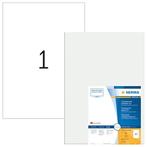 Herma 8964 Wetterfeste Tintenstrahldrucker Folienetiketten glasklar (DIN A4 210 x 297 mm) 10 St., 10...