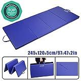 CCLIFE 245x120x5cm,Tappetino Tri-Pieghevole da Ginnastica, Allenamento,Fitness e Yoga,Colore: Blu