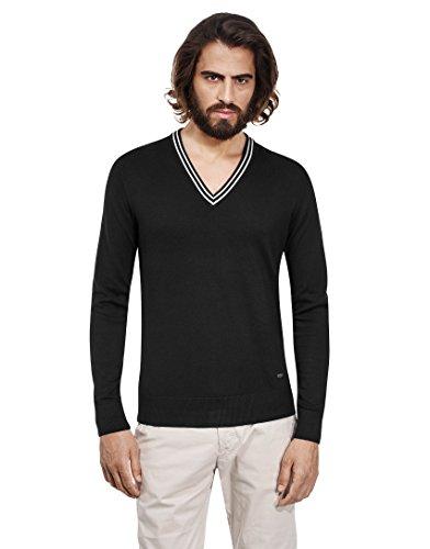 Vincenzo Boretti Herren-Pullover V-Ausschnitt slim-fit tailliert Strick-Pullover V-Neck einfarbig Baumwolle-Mix edel elegant leicht Fein-Strick für Business oder Casual schwarz XL
