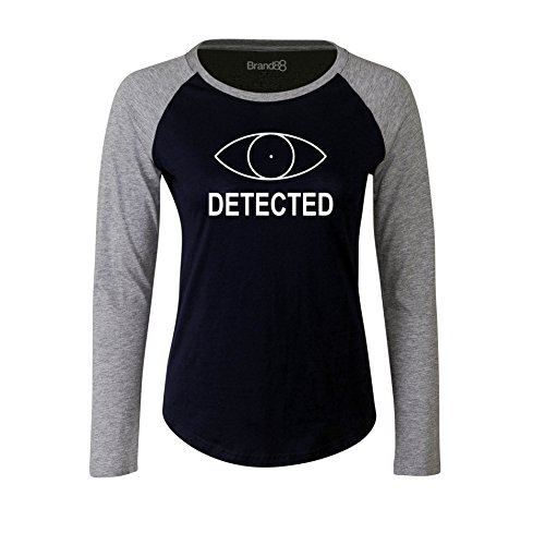 Brand88 - Detected, Damen Langarm Baseball T-Shirt Blau & Grau